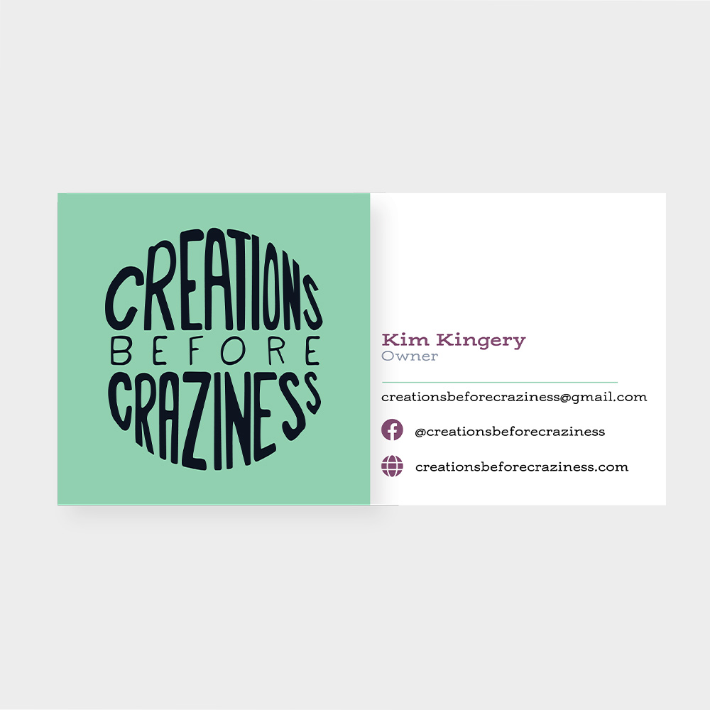 Square business card for Kim Kingery.